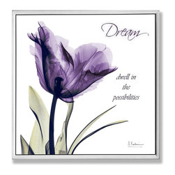 Stupell Industries - Dream Purple Flower X-Ray Art - Made in USA. Ready for Hanging. Hand Finished and Original Artwork. No Assembly Required. 12 in L x 0.5 in W x 10 in H (2 lbs.)What better way to add class to your home than with a wall plaque from the Stupell Home Decor Collection? Made in the USA and featuring original artwork,you are sure to find the perfect match for wherever you are looking to design. Each plaque comes mounted on sturdy half inch thick mdf and features hand painted edges.  It also comes with a sawtooth hanger on the back for instant use.