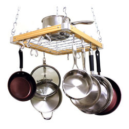 Cooks Standard - Cooks Standard Ceiling Mount Wooden Pot Rack NC-00268 - What's in Box: Ceiling mount wooden Pot Rack length 23-1/2-inch, width 18-inch, include 8 wood track in 4 side, 4 pieces Pan Hooks, 4 pieces Swivel Hooks, 6 pieces S-Type Pot Hooks,4 pieces W-Type Pot Hooks,8 pieces 5.25-inch Universal Pot Hooks,made of solid cast aluminum, also bracket is made of solid aluminum, which is very strong.