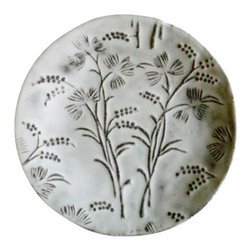 """ASTIER DE VILLATE - Robinson Dessert Plate by Astier de Villatte - Astier de Villatte ceramics are entirely handmade in Paris, France. Made of black terracotta clay, the pieces are extremely durable yet surprisingly light to the touch making them perfect for everyday use. The namesake tableware collection is inspired by 18th and 19th century designs and is glazed to create a milky white finish. Hand wash only. 7.7"""" d"""