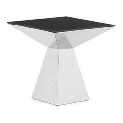 Modern end table Tyrell - End table Tyrell consists of chromed stainless steel base and painted in black tempered glass top. It features modern elegance and stylish look.