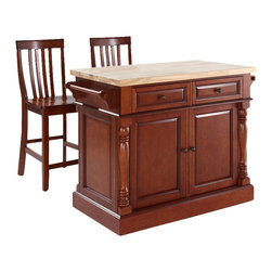 Crosley Furniture - Butcher Block Top Kitchen Island with School - Includes two stools. Fully functional doors and drawers on both sides. Butcher block top. Two towel bars. Antique brass finish hardware. Carved column accents. Two adjustable shelves behind doors. Warranty: 90 days. Made from solid hardwood and wood veneers. Made in Vietnam. School house stool height: 24 in.. Overall: 48.25 in. W x 23 in. D x 36 in. H (168 lbs.). Assembly instructions - Kitchen Island. Assembly instructions - StoolThis kitchen island is designed for longevity. The handsome raised panel doors and drawer fronts provide the ultimate in style to dress up any culinary space. Great for food preparation, the butcher block top is a plus in any kitchen. Deep push-through drawers are great for holding essential items, such as utensils or storage containers. Style, function, and quality make this kitchen island a wise addition to your home.
