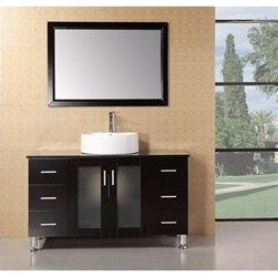 "Design Element - Design Element Seabright 48"" Single Sink Modern Bathroom Vanity - Espresso - The 48"" Malibu showcases light, clean lines and geometric shapes though a well-balanced convergence of wood, glass, and porcelain. The result is a practical, superbly functional design with a rich range of forms, hues, and textures. The lack of architectural embellishments make the Malibu a great value and a perfect fit for the ultra-modern bathroom. Quality design points were not sacrificed, such as solid oak construction (no MDF in sight), soft-closing cabinet doors, a water-resistant finish, and a tempered glass countertop. Thanks to the round vessel sink, there's plenty of counter space, and storage space is further enhanced with six large drawers and two cabinet doors. Features: Solid Oak Wood constructionBlack Tempered Glass CountertopRound Vessel sinkPolished chrome pop up drainSix Drawers and Soft Closing Double DoorMatching framed mirrorSoft closing cabinet door ensures you never hear door slam againManufacturer provides 1 year warrantyFaucet(s) not included47""W x 22""D x 34""H How to handle your counter"
