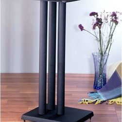 """VTI - RF Series 29"""" Fixed Height Speaker Stand (Set of 2) - Features: -Adjustable spikes on bottom provide excellent stability.-Metal bits fillable to increase stability and reduce sound distortion.-Speaker wires can be run in the tube.-Price is per pair.-Powder coated cast iron base with heavy gauge steel top plate and pillar..-Finish: Black.-Distressed: No.-Adjustable: No.-Weight Capacity: 100 lbs.Dimensions: -Overall Dimensions Height - Top to Bottom: 29"""".-Overall Dimensions Width: 10.75"""".-Overall Dimensions Depth: 11.75"""".-Assembled Weight: 32 lbs."""