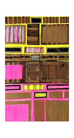 Karen La Du - Gold Rectangles Artwork - This geometric drawing created using gold paint pen and day glo markers will make a popping splash of color in your space. Whether as an eclectic accent to a traditional home, or an accompaniment to a contemporary/60's style groovy pad, La Du's piece is on acid free paper ready for your choice of frame.