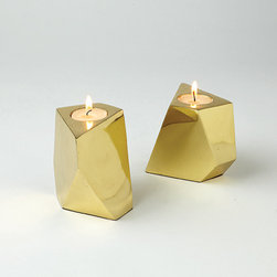 Converge Brass Votives - I'm loving metallic geometric shapes. These remind me of a table lamp I recently saw at Land of Nod.
