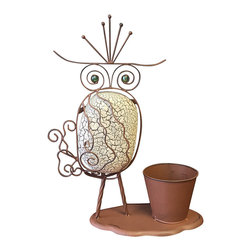 Marshall Home and Garden - Large Rock Owl Planter - Made from durable iron and rock, this creature provides your outdoor scene a whimsical touch as it holds a plant.   18'' H Iron / rock Imported
