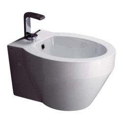 GSI - Round White Ceramic Wall Hung Bidet - Contemporary round white ceramic wall bidet.