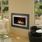 H4 Series Fireplace - H4 with Outer Landscape Surround (660LSV), Painted Nickel Inner Bezel (661BSN) and Decorative Rock Kit (761DRK)