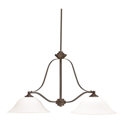 Kichler Lighting - Kichler Lighting 3882OZ Langford Transitional Kitchen Island Light - This classic 2 light chandelier island from the Langford™ collection is a timeless accent fitting for any space. The Olde Bronze™ finish and Satin Etched Glass combine to create a refined statement.