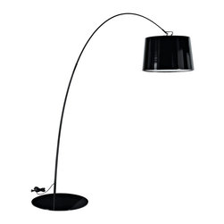 Modway Furniture - Modway Liberty Floor Lamp in Black - Floor Lamp in Black belongs to Liberty Collection by Modway The Liberty modern floor lamp bends linear movements with a smooth downward flow to bring energy to your space. The lowered bell-shaped shade dips formal elegance into your abode as the acquiescent glow showers it with light. Bask in the created vigor of youthfulness and freshness in a piece destined for excitement. Set Includes: One - Liberty Floor Lamp Floor Lamp (1)