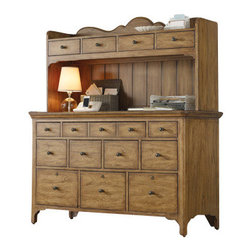 Hooker Furniture - Display Cabinet - Storage, with stately style — this handsome wood piece has drawers galore. It's perfect for your traditional office yet versatile enough to serve as a buffet.