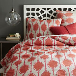 Organic Bead Print Ikat Duvet Cover - Spring is a great time to add some fun color to your bedroom. I love the idea of switching your winter look out for a fun pop of color and energy. This duvet will do the trick.