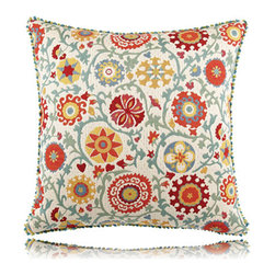 Elaine Smith - suzani floral pillow (20x20) - Performance pillows from renowned textile designer Elaine Smith® feature unique fabrics that are both soft and stylish, rich in color, lavish in detail, and impervious to the elements.