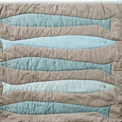 Serena & Lily - Fisherman's Quilt - This well-weathered quilt is perfect in guest rooms and cozy cabins. Iconic fish shapes are appliqued in contrasting seaglass colors with blanket stitching. Stonewashed 100% cotton percale becomes even softer with every wash.