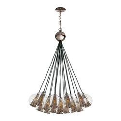 Caviar Adj Brown Nickel/Smoke Glass Bouqet - A bouquet of smoked-glass globes earns a cool rhythm from the symmetrical arrangement. Bunched at equal lengths, the sparkling spheres meld visually into a singular bold form that transforms the interior flutes into a contemporary pattern.