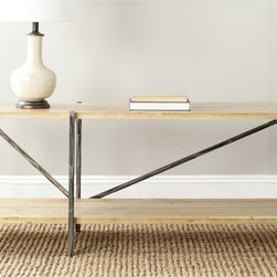 Safavieh - Safavieh Theodore Natural Console Table - It's the new traditionalism: The Theodore console table's natural fir wood with reclaimed look and metal legs transform the stodgy notion of the traditional table with new rustic-chic industrial flair.
