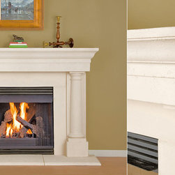 Milner Stone Fireplace Mantel - With twin pillars and contemporary styling, the Milner stone fireplace mantel is a beauty. Perfect for any living space, choose from a variety of finishes and sizes.