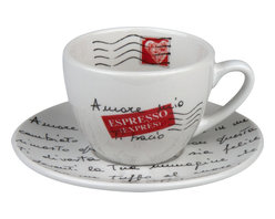 Konitz - S/4 Coffee Cups & Saucers Amore Mio - You and most other coffee drinkers would say they have a love affair with their favorite beverage. This amorous cup and saucer express their passion for you too, in the form of a love letter you can read every morning.