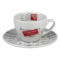 Konitz - Amore Mio Coffee Cups and Saucers, Set of 4 - You and most other coffee drinkers would say they have a love affair with their favorite beverage. This amorous cup and saucer express their passion for you too, in the form of a love letter you can read every morning.