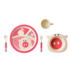 Bamboo Studio - Bamboo Studio Bamboo Kids 5-Piece Pig Set - Adorable and ecofriendly, this little piggy has it all. This bamboo dishware set is durable, dishwasher safe and FDA approved. Plus, its pretty pink pig design is sure to please even your most discerning young diner. Pigging out has never been so sensible — or so cute.