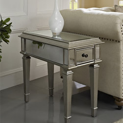Powell - Powell Silver Mirrored Side Table - The perfect addition to any room,this mirrored side table provides unique storage in tight spaces. Featuring mirrored surfaces and silver wood,this piece adds a stylish and glamorous touch to your home.