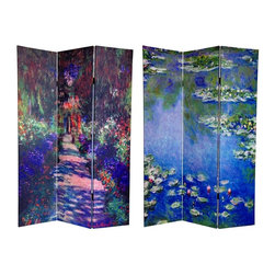Oriental Unlimted - Reversible 6 ft. Tall Lilies & Garden at Gave - One double-sided divider, both sides shown in image. This vibrant floor screen is graced with the art of 19th century French impressionist master, Claude Monet. The front image is Nymphéas, circa 1906, 1 of Monet's many paintings of the lily pond on his property at Giverny. On the back is the famous Une Allée du Jardin de Monet, Giverny, circa 1902. The bold colors and compelling subjects printed on the front and back of this screen provide attractive interior design elements for your living room, bedroom, dining room, home office or place of business. This 3 panel screen has different images on each side. High quality wood and fabric covered room divider. Well constructed, extra durable, kiln dried Spruce wood frame panels, covered top to bottom, front, back and edges. With tough stretched poly-cotton blend canvas. 2 Extra large, beautiful art prints - printed with fade resistant, high color saturation ink, creating 2 stunning, long lasting, vivid images, powerful visual focal points for any room. Amazingly inexpensive, practical, portable, decorative accessory. Almost entirely opaque, double layer of canvas, providing complete privacy. Easily block light from a bedroom window or doorway. Great home decor accent - for dividing a space, redirecting foot traffic, hiding unsightly areas or equipment, or for providing a background for plants or sculptures, or use to define a cozy, attractive spot for table and chairs in a larger room. Assembly required. 15.75 in. W x 70.88 in. H (each panel)