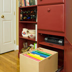Pull Out File Box for Your Home Office - If you want to create the organization of a home office without having your home look like an office, try retro-fitting your existing furniture instead of buying traditional office filing cabinets.  ShelfGenie pull out file boxes are ideal for installing in a hutch or even a kitchen cabinet.