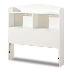 South Shore - Twin Size Bookcase Headboard With Pure White - * Manufactured from eco-friendly, EPP-compliant laminated particle boardcarrying the Forest Stewardship Council (FSC) certification. Pure white finish. Features 2 open storage cases and a top shelf to keep everything neat. Manufactured from engineered-wood products. Made of engineered wood from 100% recycled wood fiber. 5 year warranty. Assembly required41 in. L x 7.5 in. W x 41.8 in. H. 30 lbs