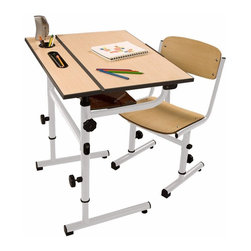 Da Vinci Children's Art Desk, White Steel Frame, Wood Top and Seat - The Da Vinci children's art desk would be perfect not only for artwork, but also for homework. The desktop can tilt down for a better writing angle, and storage space can be found within and underneath the desktop. Additionally, an adjustable steel frame allows parents to set it at the best height for their child.