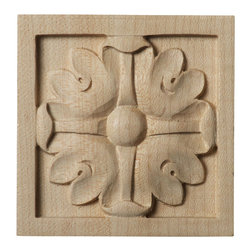 """Ekena Millwork - 3""""W x 3""""H x 5/8""""D Small Edinburgh Rosette, Maple - Our rosettes are the perfect accent pieces to cabinetry, furniture, fireplace mantels, ceilings, and more.  Each pattern is carefully crafted after traditional and historical designs.  Each piece is carefully carved and then sanded ready for your paint or stain.  They can install simply with traditional wood glues and finishing nails."""