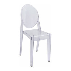 Kardiel Philippe Style Ghost Chair, Transparent - The Signature Ghost Chair originally designed by Philippe Starck presents a unique mix of creativity and sturdiness. The chairs are durable, can be stacked and are great for both outdoor and indoor use. These features make them a terrific choice for nearly any kind of occasion and space. The Ghost Chair almost disappears into the background as if to faintly impose its distinguishing design element into the room. The Signature Ghost Chair has turned out to be an artistic representation of American furniture. Apart from their versatility, they also express the designs of a true artist. Their rounded seats and medallion backs show the illusion of a contemporary baroque style chair.