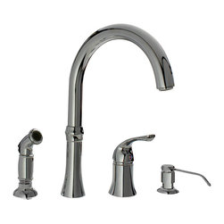 "MR Direct - Chrome Four Hole Kitchen Faucet - The 710-C Four-Hole Kitchen Faucet is available in a brushed nickel, oil-rubbed bronze, or chrome finish. It contains a 360 degree spout and includes a soap dispenser and side spray for easy cleaning. The dimensions for the 710-C are 12 5/8"" tall with a 9 7/8"" spout reach and it is ADA approved. The faucet is pressure tested to ensure proper working conditions and is covered under a lifetime warranty. The 710-C has so many great components that are sure to make your kitchen sink user-friendly."