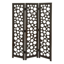 Benzara - 3 Panel Screen in Random Circular and Oval Patterns - Define space the way you want in your home setting with this Wood 3 Panel Screen in Random Circular and Oval