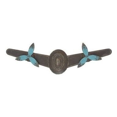 BZBZ55499 - Lavaca Chic Metal Wall Jewelry - Lavaca Chic Metal Wall Jewelry. This fashionable propeller decor is made of metal with a brown and blue color palette. Some assembly may be required.