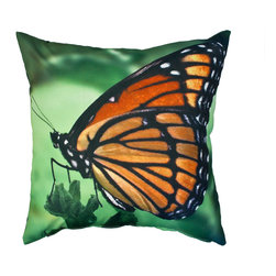 DD - Orange and Green Butterfly Outdoor Pillow - Add color and nature to your backyard with this beautiful and elegant butterfly outdoor pillow