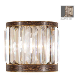 Fine Art Lamps - Eaton Place Silver Sconce, 605650-2ST - As simple as it is elegant, this wall sconce will bring stately style to your favorite traditional setting. The faceted channel-set crystal coupe takes its inspiration from an Edwardian manor.