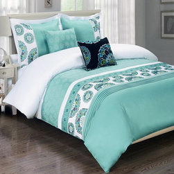 Royal Tradition - R-T Duvet Cover-Embroidered 100% Cotton- Chelsea Aqua - This Chelsea Aqua Duvet Cover Set is made of beautifully embroidered 100% cotton in rich colors.  The duvet has self piping (four sides) and has a hidden zipper closure by the foot.