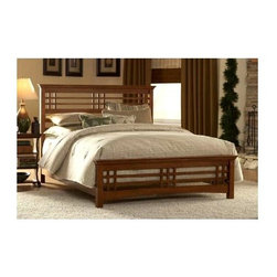 Leggett/Platt Fashion Bed - Avery Bed w Rails (Full) - Choose Bed Size: Full. Timeless with a hint of rustic style, this rubber wood bed will be a handsome addition to any decor. It is finished in oak stain and features a slatted, plaid look pattern that is both classic and casual with a hint of masculine appeal. The bed is available in your choice of sizes and includes a headboard, footboard and rails. Classic style. Made of Rubberwood. Oak finish. Available in various sizes. Mattress and Bedding not included. Full: 82 in. W x 58.25 in. D x 50 in. H (107 lbs.). Queen: 87 in. W x 63.25 in. D x 50 in. H (111 lbs.). King: 87 in. W x 81.25 in. D x 50 in. H (134 lbs.)Simplicity of materials and design are accented by the horizontal and vertical lines of the headboard and footboard of the Avery. The Mission style of the Avery Bed began its popularity at the turn of the 20th century. This classic style has stood the test of time. Finished in an Oak stain, it has a clear lacquer coat for extra protection of the wood and virtually maintenance free care. This piece of furniture will be a symbol of the character of times gone by and will be with you for years to come.