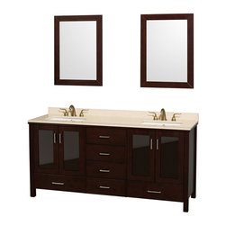 Wyndham Collection - Eco-Friendly Bathroom Vanity with White Undermount Sinks - Includes natural stone counter, backsplash, two undermount sinks and includes matching mirrors. Faucets not included. Four doors and six drawers. Engineered to prevent warping and last a lifetime. Highly water-resistant low V.O.C. finish. 12-stage wood preparation, sanding, painting and finishing process. Floor standing vanity. Deep doweled drawers. Fully extending side mount drawer slides. Soft close doors. Concealed door hinges. 8 in. widespread three hole faucet mount. Plenty of storage space. Metal hardware with brushed chrome finish. Ivory marble top. Made from zero emissions solid oak hardwood. Espresso finish. Vanity: 72 in. W x 22.75 in. D x 35 in. H. Mirror: 24 in. L x 33 in. H. Handling Instructions. Assembly Instructions - Undermount. Assembly Instructions - MirrorContemporary but practical design. The modern design puts a visual emphasis on clean lines, luxurious natural marble, abundant storage for two, and is at home in almost every bathroom decor. You'll never hear a door slam shut again!.