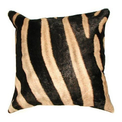 Pre-owned Zebra Skin Pillow - Import a little exotic serengeti style into your space with this exquisite zebra hide pillow. The pillow is made from real zebra hide and measures 16 inches by 16 inches. The back is made of suede.