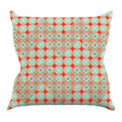 """Kess InHouse - Catherine McDonald """"Traveling Caravan"""" Red Pattern Throw Pillow (18"""" x 18"""") - Rest among the art you love. Transform your hang out room into a hip gallery, that's also comfortable. With this pillow you can create an environment that reflects your unique style. It's amazing what a throw pillow can do to complete a room. (Kess InHouse is not responsible for pillow fighting that may occur as the result of creative stimulation)."""