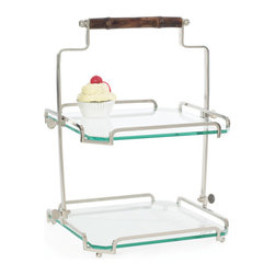 Go Home - Two Tier Bamboo Handle Stand - Two - tier glass stand with bamboo handle is ideal for presenting desserts, cheeses and appetizers for guests when hosting and entertaining at home.