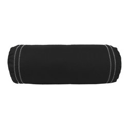 Store51 LLC - Black Bolster White Stitching Accent Pillow - FEATURES: