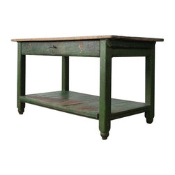 """Pre-owned Primitive 1920s Green Work Table - This vintage rustic work table is circa 1920s.  Made of heavy wood with a work bench feel.  Emerald green, worn paint and a shelf across base. Great for storage. Features a long drawer with metal handle. The interior drawer is divided into three compartments, probably for silverware or tools. In great condition with lots of character and wear to the wood. We would use this as a kitchen island or work table.    Measurements:  55"""" Length  28.75"""" Depth  31"""" Height  42.75"""" drawer length x 5.25"""" drawer height"""