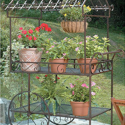 None - Deer Park Ironworks Large Flower Cart - Complete your backyard with a large flower cart from Deer ParkCharming flower cart is constructed of durable,heavy-gauge metal construction Garden accent features two shelves for flowers,plants or tools