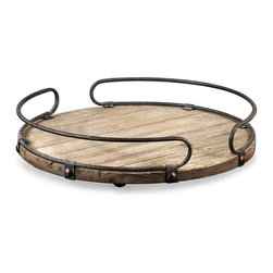 Acela Wood Tray - Evocative of the casks readily found in European wine cellars, the Acela Wood Tray boasts a natural fir wood base with a subtly distressed appearance that suggests the impression of time. Aged metal, gently curved, sits atop the tray and serves as both stylish handle and unobtrusive rim. When not in use, the tray may be used as a table centerpiece in your dining room or breakfast bay.