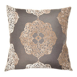 "Square Feathers - Pewter Medallion Throw Pillow - A modern take on vintage style, this striking pillow pops with a shimmering design. In metallic copper, a whimsical medallion pattern excites across a pewter gray background. Available in several sizes; Polyester/rayon; Polyester velvet back; Knife edge; Zipper closure; Feather down insert included; Spot clean only; Made in the USA; 24""W x 12""H; 20""W x 20""H; 22""W x 22""H; 24""W x 24""H; 26""W x 26""H"