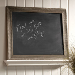 Exposures - Driftwood Chalk Board - Overview Bring a natural element to your kitchen or entry with this chic driftwood chalk board, perfect for creating a family message center, menu board or chalk board art. The versatile soft gray color adds a warm accent to modern interiors, and also complements rustic or beach dcor.  Features Driftwood look wood frame Solid wood  Chalk board    Specifications  Small measures 21 wide x 15 high x 1 deep  Large measures 30 wide x 24 high x 1 1/2 deep