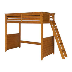 Lea Industries - Lea Willow Run Twin Tall Loft Bed in Rich Toffee Brown Finish - You can provide your childs bedroom with a lot of open space by adding this tall loft bed to the decor. The piece carries a rich toffee brown finish and features a side railing to prevent falling that incorporates gently horizontal slat panel look into the design. In addition, the ladder creates easy access up and down the bed. Functional and fashionable, this junior loft bed is sure to please.