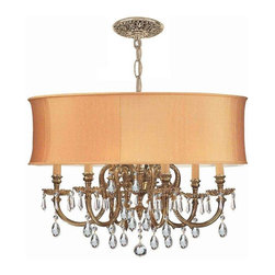 Crystorama Lighting - Crystorama Lighting 2916-OB-SHG-CLQ Brentwood Traditional Chandelier - Crystorama Lighting 2916-OB-SHG-CLQ Brentwood Traditional Chandelier In Olde Brass With Clear Swarovski Spectra Crystal